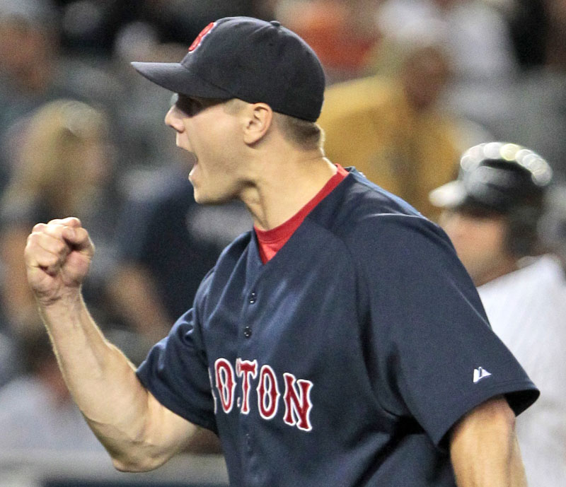 Red Sox relief pitcher Jonathan Papelbon reacts after the final out of Friday's 6-3 win over the New York Yankees on Friday.