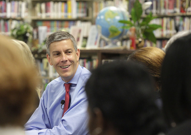 Education Secretary Arne Duncan is expected to tour three Expeditionary Learning projects with students and teachers and have a discussion of school safety with teachers, parents and community members.