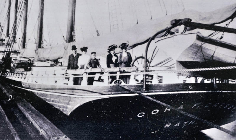 This 1902 photo shows Cora Cressy, second from left, along with husband Myron, son Dustin and two unidentified women standing at the stern of her namesake ship.