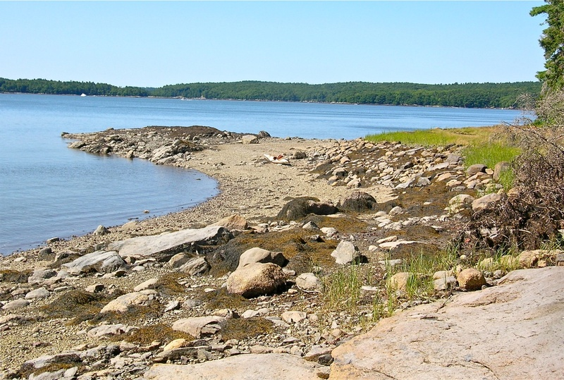 Pebble Beach, near Dodge Point, is a lovely place to stop for a swim while paddling the Damariscotta River.