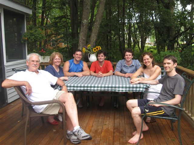 The Butterworth clan gathers on the deck of their empty nest the day after Andy and Linda's wedding. They are, from left, Frank, Debbie, Jeff, Tim, Jonathan, Linda and Andy.