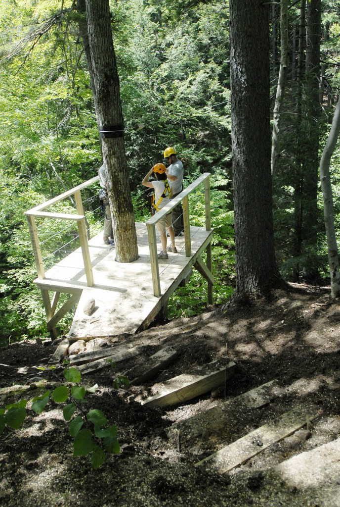 Newly built ramps at Sunday River provide landing spots for zip line riders.