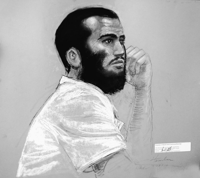 A courtroom sketch shows Canadian defendant Omar Khadr, for whom critics oppose a war crimes trial because he was 15 when he allegedly threw a grenade that killed a U.S. army sergeant.