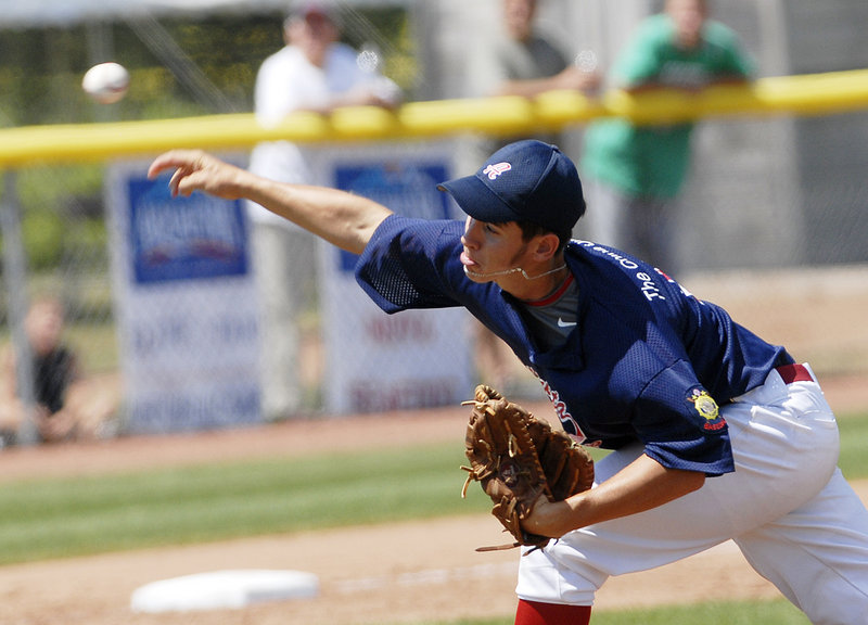 Augusta's Ryan Minoty delivers a pitch in the first game of Sunday's championship round. Minoty was the winning pitcher in Augusta's 13-6 victory, but he took the loss in relief in the second game as Gayton rallied for a 17-16 win.