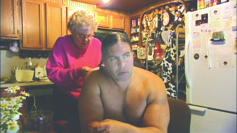 Stan Pleskun's mother braids his hair in
