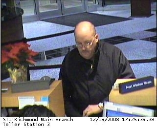 In a 2008 surveillance photo from the FBI, a robber dubbed the