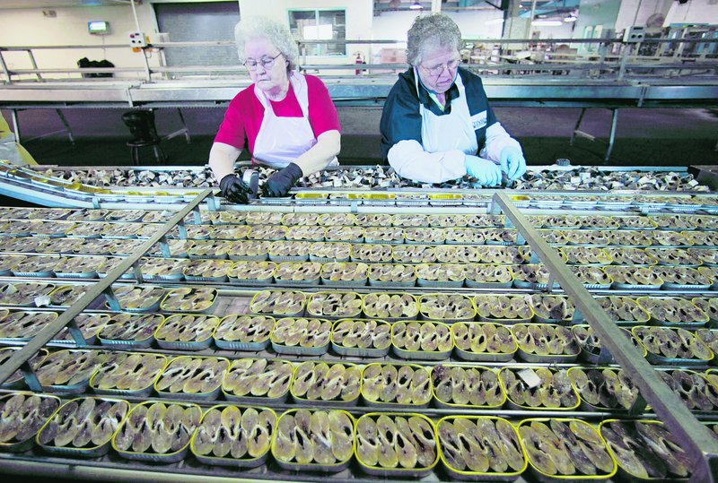 Workers fill cans with sardine steaks at the Stinson cannery in Gouldsboro in April 2010. San Diego-based Bumble Bee closed the plant four months ago, saying fishing limits left too few sardines to pack.
