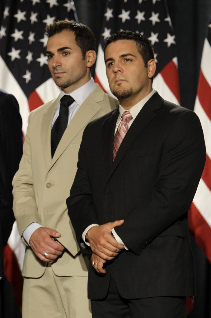 Paul Katami, left, and Jeff Zarrillo, plaintiffs in the lawsuit, attend the news conference.