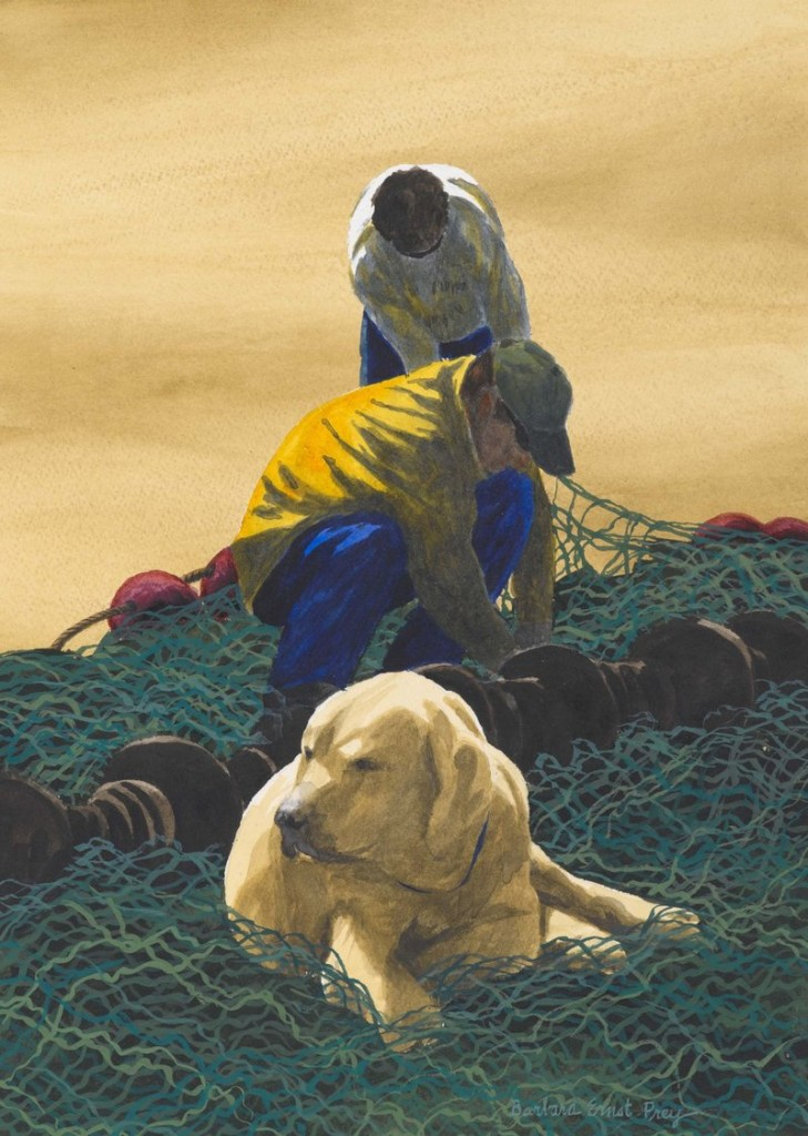 """""""The Mender's Assistant,"""" watercolor, 2010, reflects Barbara Ernst Prey's affection for the local fishing industry."""