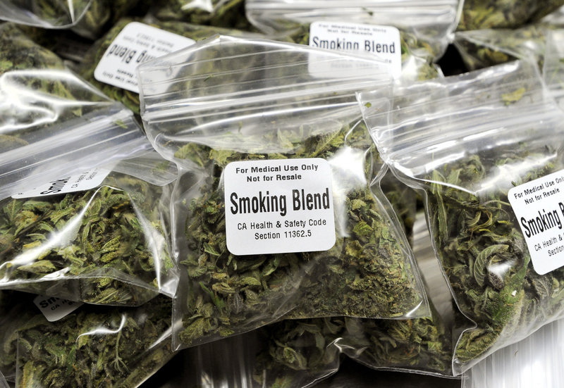 One-eighth ounce bags of marijuana that sell for $10 are stacked at Berkeley Patients Group clinic in Berkeley, Calif. Unlike California, Maine's dispensaries will have a very short list of who can get the marijuana.