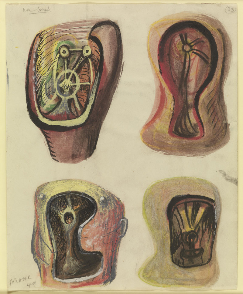 """Helmet Heads,"" 1949, pencil, chalk, charcoal, wax crayon, watercolor, ink and gouache"