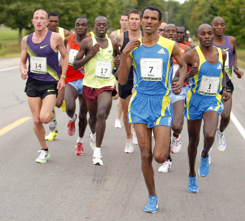 Gebre Gebremariam of Ethiopia had the lead as the first pack of runners formed early in the 13th TD Bank Beach to Beacon 10K on Saturday, and when the finish came at Fort Williams Park, it was Gebremariam who was first across the line after outsprinting two Kenyans in the final stretch.