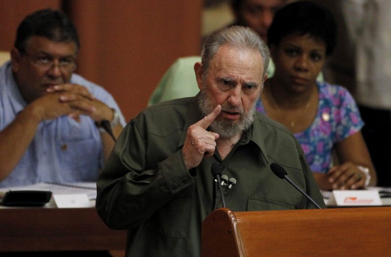 Fidel Castro addresses a special session of parliament in his first official government appearance in four years, in Havana on Saturday. Castro, who turns 84 on Aug. 13, spoke for barely 11 minutes, primarily about the threat of nuclear war.