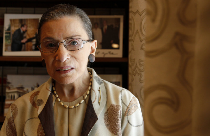 """Supreme Court Justice Ruth Bader Ginsburg, photographed in her chambers in Washington, says female justices """"do bring to the table the experience of growing up as girls and women."""""""