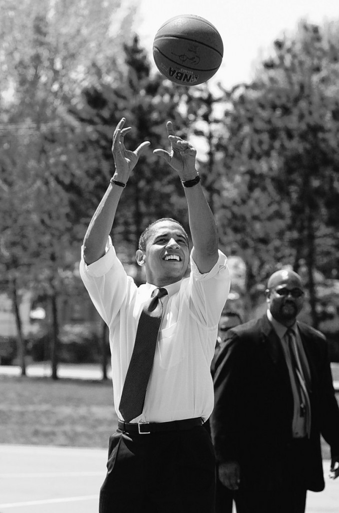 Barack Obama shows his basketball prowess while campaiging for office. On Sunday, he and several real hoop stars performed for troops.