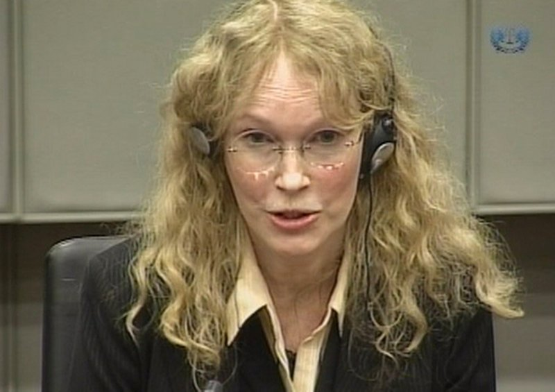 Mia Farrow, in an image taken from TV, testifies Monday at the Charles Taylor war crimes trial in Leidschendam, Netherlands.