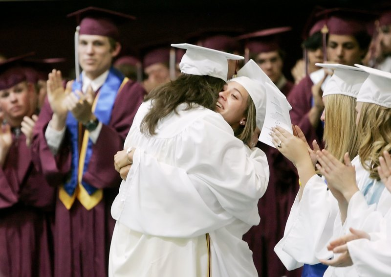 2009 Press Herald file Freeport High School students celebrate their graduation in 2009.