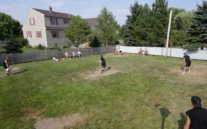 The Biskup residence in South Portland has had lots of activity this summer as the home of a Wiffle ball league composed mainly of recent South Portland High graduates. A four-team tournament was held this past weekend before players head back to college.