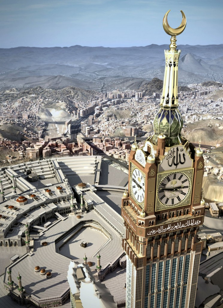 Saudi Arabia's huge clock overlooks Mecca's famed Grand Mosque.