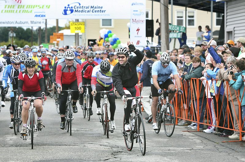 Patrick Dempsey leads the pack at the start of the Dempsey Challenge last October in Lewiston. This year's fundraising event takes place on Oct. 2 and 3.