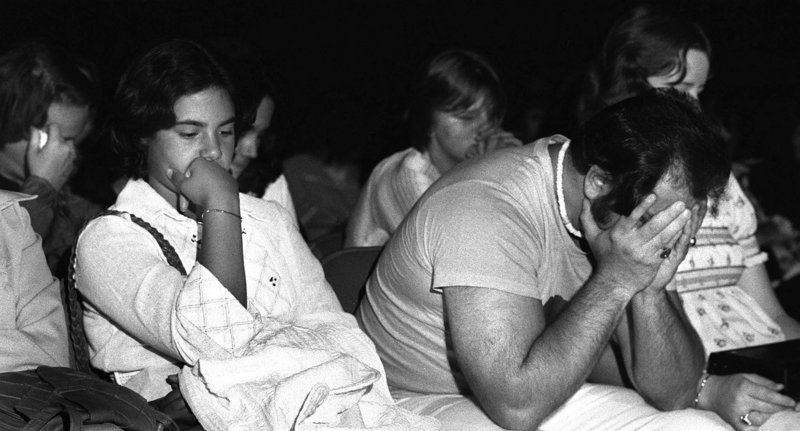 Elvis fans mourn his death at a memorial at the civic center on Aug. 18, 1977, one of the two days he was scheduled to perform in Portland.