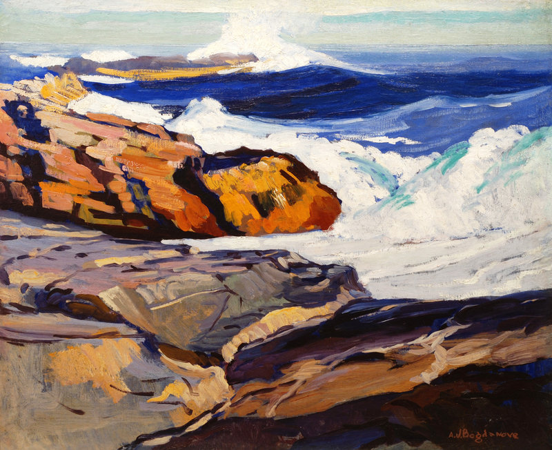 "Abraham Bogdanove, ""Cobalt Seas, Monhegan,"" oil on canvas"