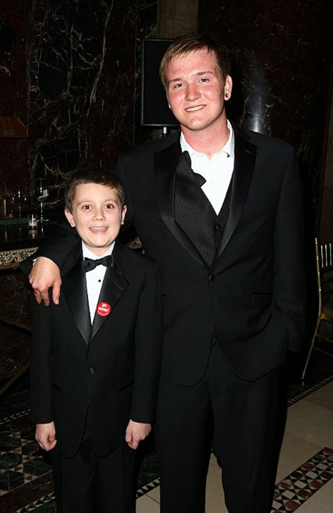 Joshua Conley of Standish, left, meets his bone marrow donor Aaron Vilhauer of Pahrump, Nev., in 2009 at a fundraiser in New York City.