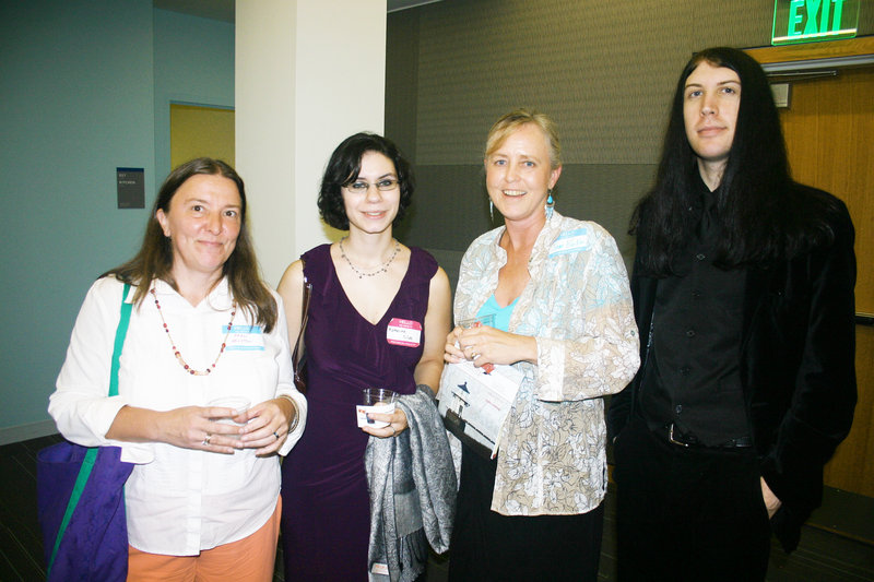 Jane Karker, second from right, who owns Maine Authors Publishing & Cooperative, stands with some of her newest authors, Fran Houston, Katherine Silva and Andrew Maxcy.