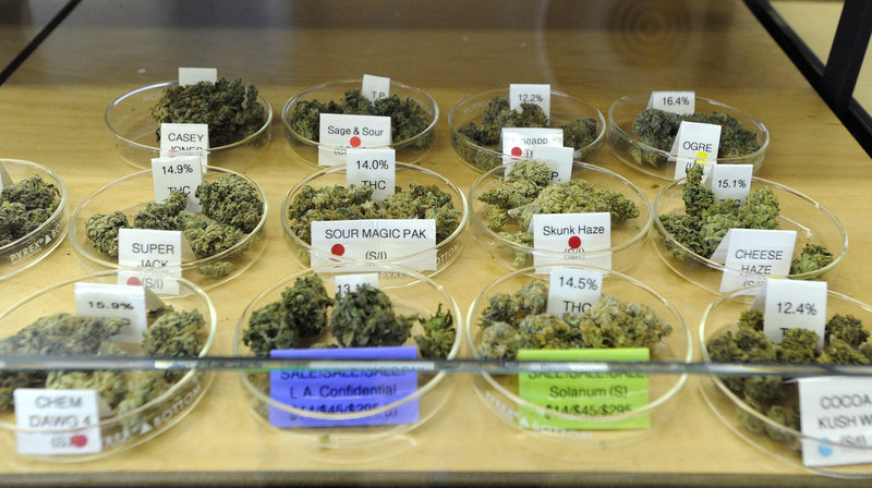 This is a small sample of the cannabis offerings in a display case at the Harborside Health Center.