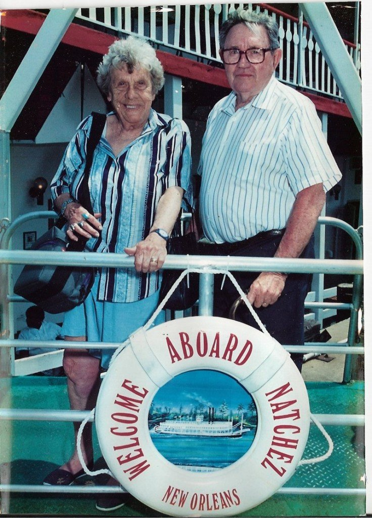 Marion Mason and her husband, John, pose on a steamboat trip up the Mississippi River. The couple traveled to all 48 contiguous states during their years of retirement.