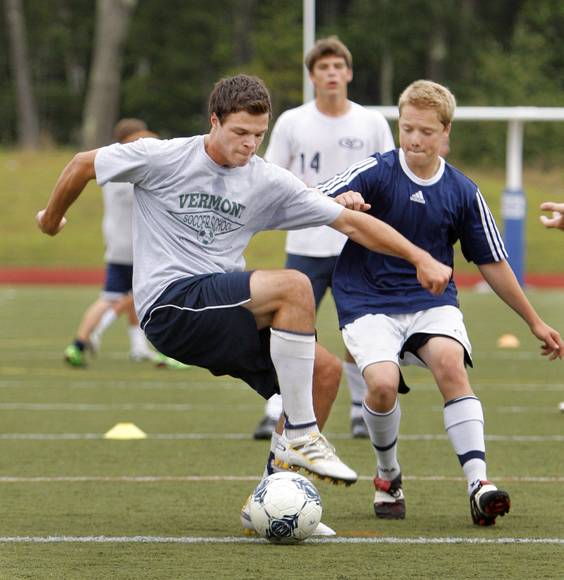 Luke Pierce shields the ball from one of his Yarmouth boys' soccer teammates. Pierce, a senior, is a three-sport athlete and was the Clippers' leading scorer last fall.