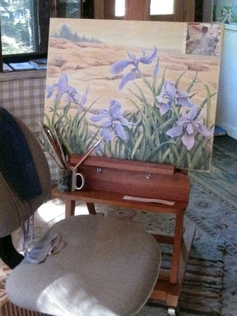 Unfinished and left on its easel is the painting of wild irises among the rocks at Schoodic Point that Marilyn Carr was working on before her death in 2009.