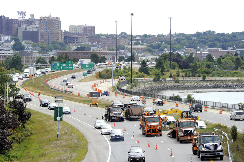 Traffic backs up on I-295 northbound Wednesday afternoon, as MDOT crews repair a sinkhole.