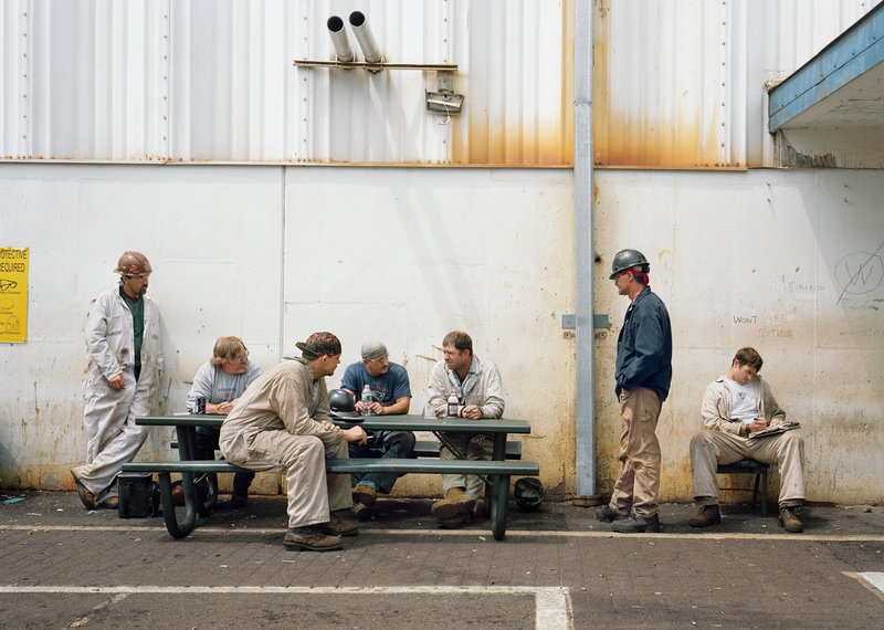 """Still from """"Lunch Break"""" (Assembly Hall, Bath Iron Works), 2008, a film by Sharon Lockhart"""