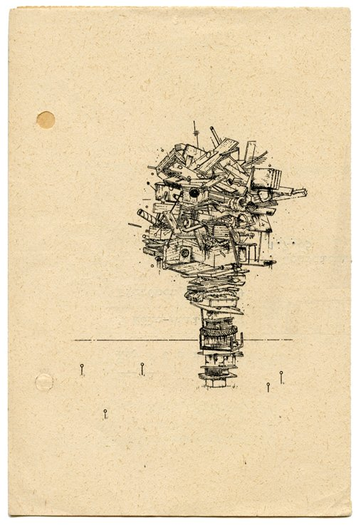 """""""Junk Stack"""" by Ethan Hayes-Chute, ink on paper, 2010"""
