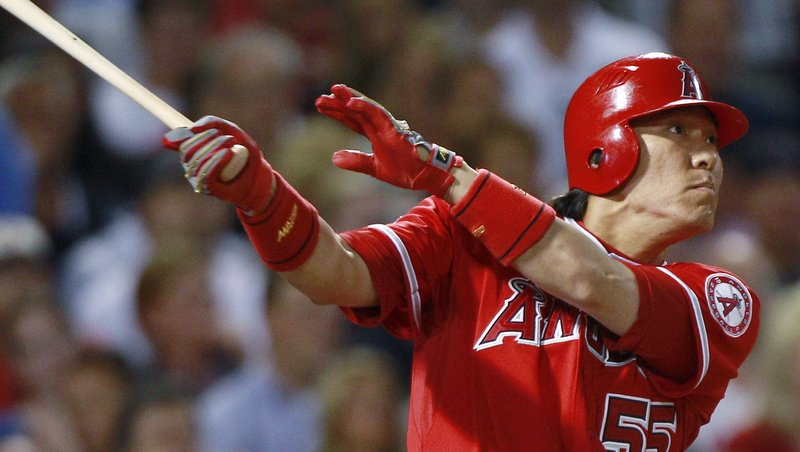 Hideki Matsui of the Los Angeles Angels watches his three-run homer off Josh Beckett during the sixth inning of a 7-2 victory against the Boston Red Sox on Thursday night.
