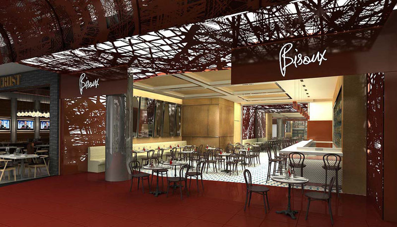 An artist's rendering provided by ICRAVE shows Bisoux, one of the new restaurants going into the Delta Air Lines terminal at LaGuardia Airport in New York. The airline sees the airport food upgrade as beneficial to its bottom line.