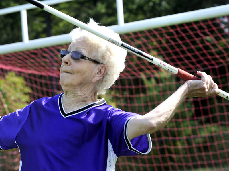 Ann McGowan, 87, of Providence, R.I., competed in six events, including the javelin, and has a goal of competing in the national Senior Games next June in Houston.