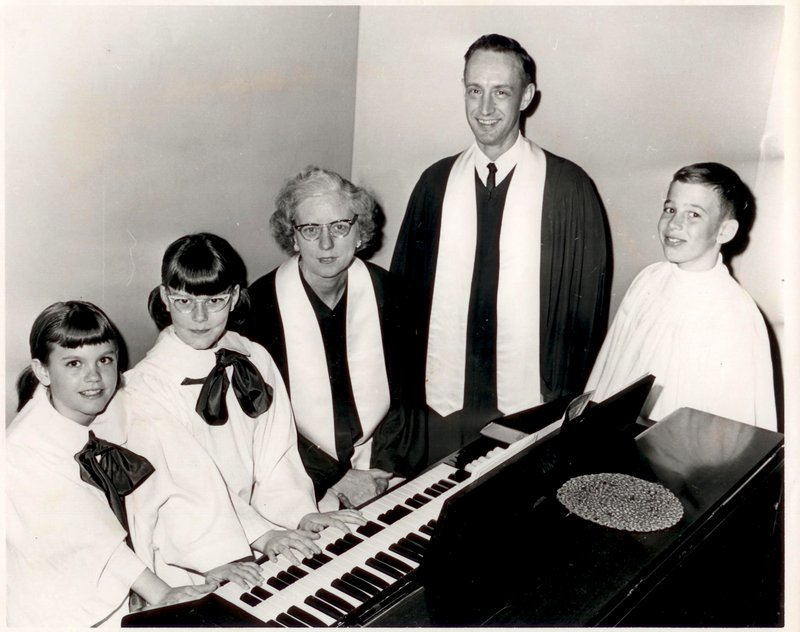 Allen Ridley, second from right, poses with Vena Wiers, the Thornton Heights United Methodist Church organist, and members of the Children's Choir.