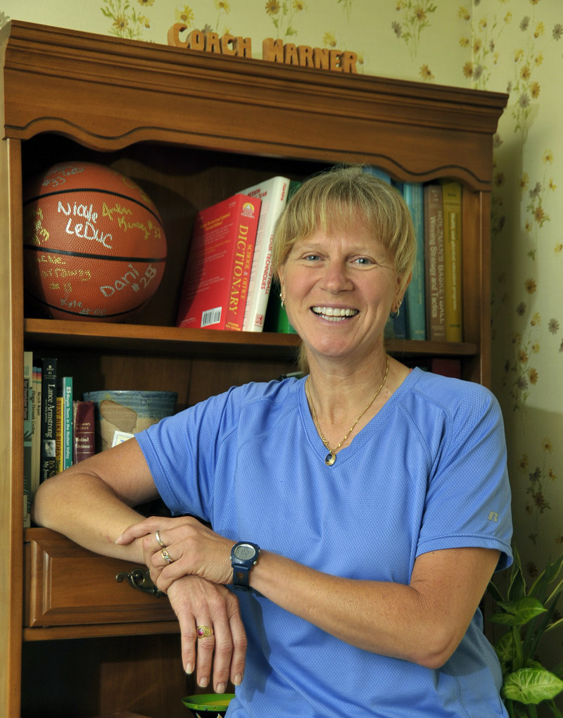 Mari Warner, the new girls' basketball coach at Falmouth High, was a prominent player at Thornton Academy and the University of Maine, as was her brother, Bob.