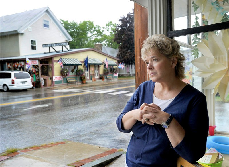 """Rose Johnson, who runs EFG Books and Gallery in Bridgton, opposes a McDonald's in town. """"I hope that they don't bring it in because it's going to end up looking like North Windham: the nondescript strip mall, no-character New England-type place,"""" the Casco resident said."""