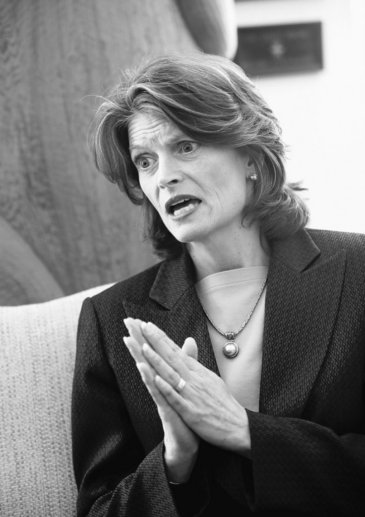 Sen. Lisa Murkowski, R-Alaska, is seen in her Capitol Hill office. Miller's victory is not yet assured, as many absentee ballots have yet to be counted.