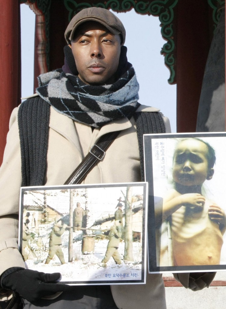 Aijalon Gomes is shown during a Jan. 12 rally denouncing North Korea's human rights conditions near the demilitarized zone of Panmunjom.