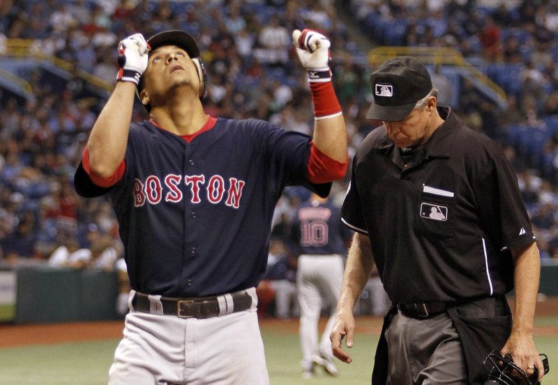 Victor Martinez was the offensive difference Friday night for the Boston Red Sox, hitting two home runs off David Price in a 3-1 victory against the Tampa Bay Rays that moved Boston within 41⁄2 games of the top.