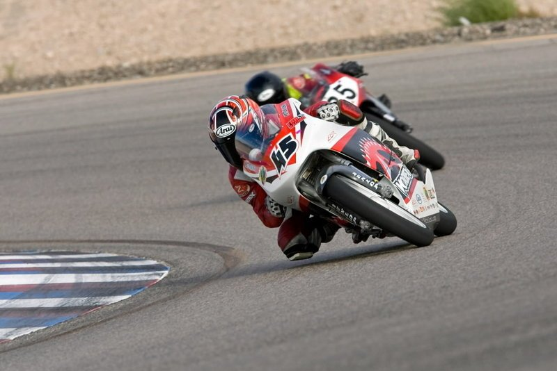 Peter Lenz (45) races his 1996 Honda RS125 at the Las Vegas Motor Speedway Classic Course in November 2008. The 13-year-old Lenz died Sunday after he fell off his motorcycle and was run over by a 12-year-old motorcyclist during a race at the Indianapolis Motor Speedway.