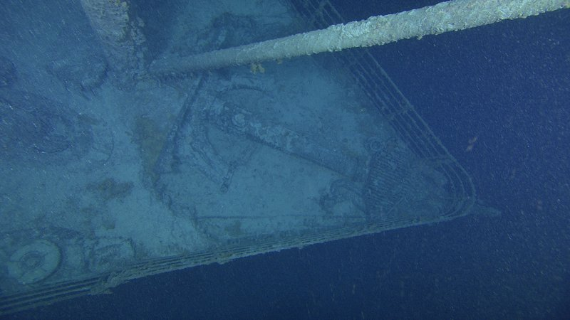 Titanic's bow is shown in this photo released by Premier Exhibitions, Inc.-Woods Hole Oceanographic Institution, among new images of the world's most famous shipwreck.