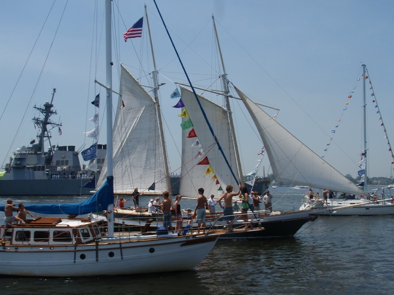 Boats fill the Elizabeth River during the Parade of Sails in Norfolk, Va.