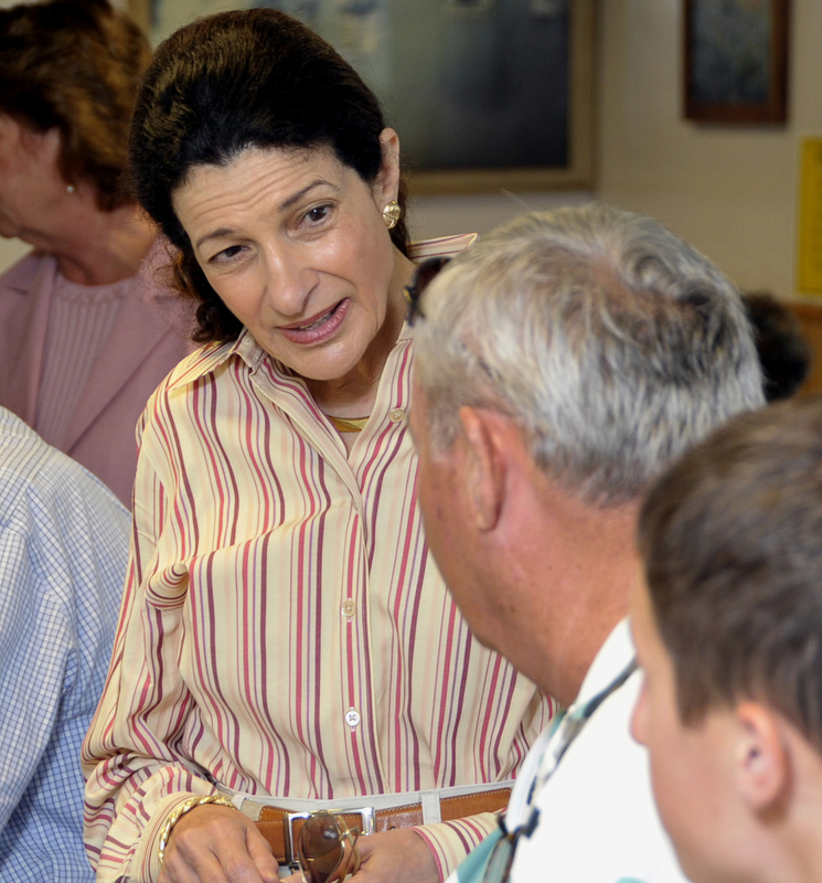 U.S. Sen. Olympia Snowe speaks with patrons at Becky's Diner in Portland last month. The Maine Republican has developed a reputation for moderation as she influences congressional legislation.