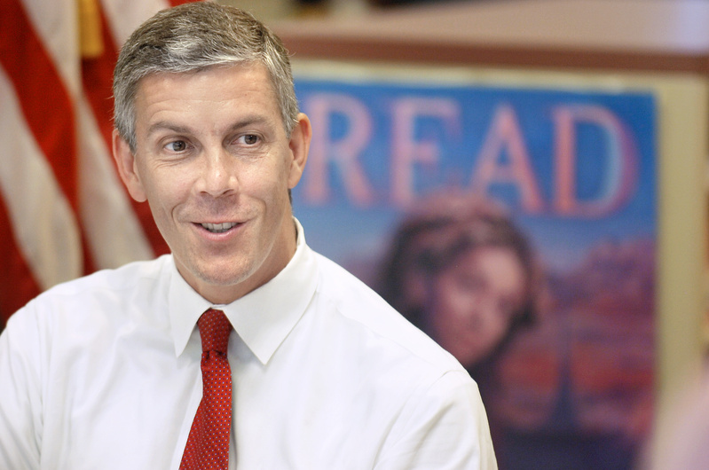 U.S. Secretary of Education Arne Duncan visits King Middle School in Portland on Tuesday afternoon. Some see Duncan's programs as anti-teacher, but they are not.