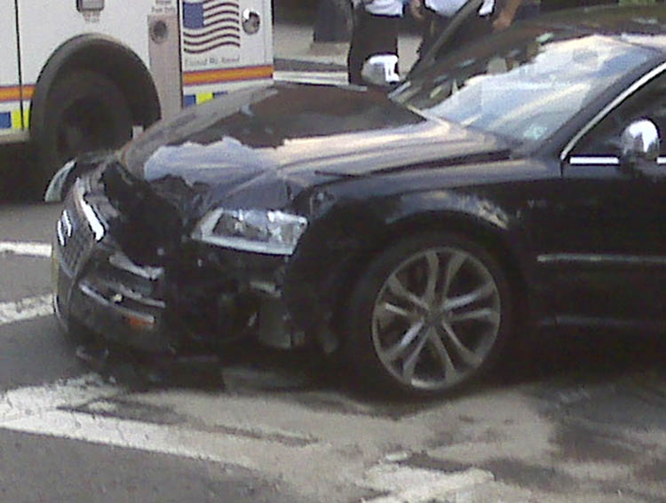 This cell phone photo provided by John McMahon shows an automobile driven by New England Patriots quarterback Tom Brady after it was involved in an accident in Boston early this morning